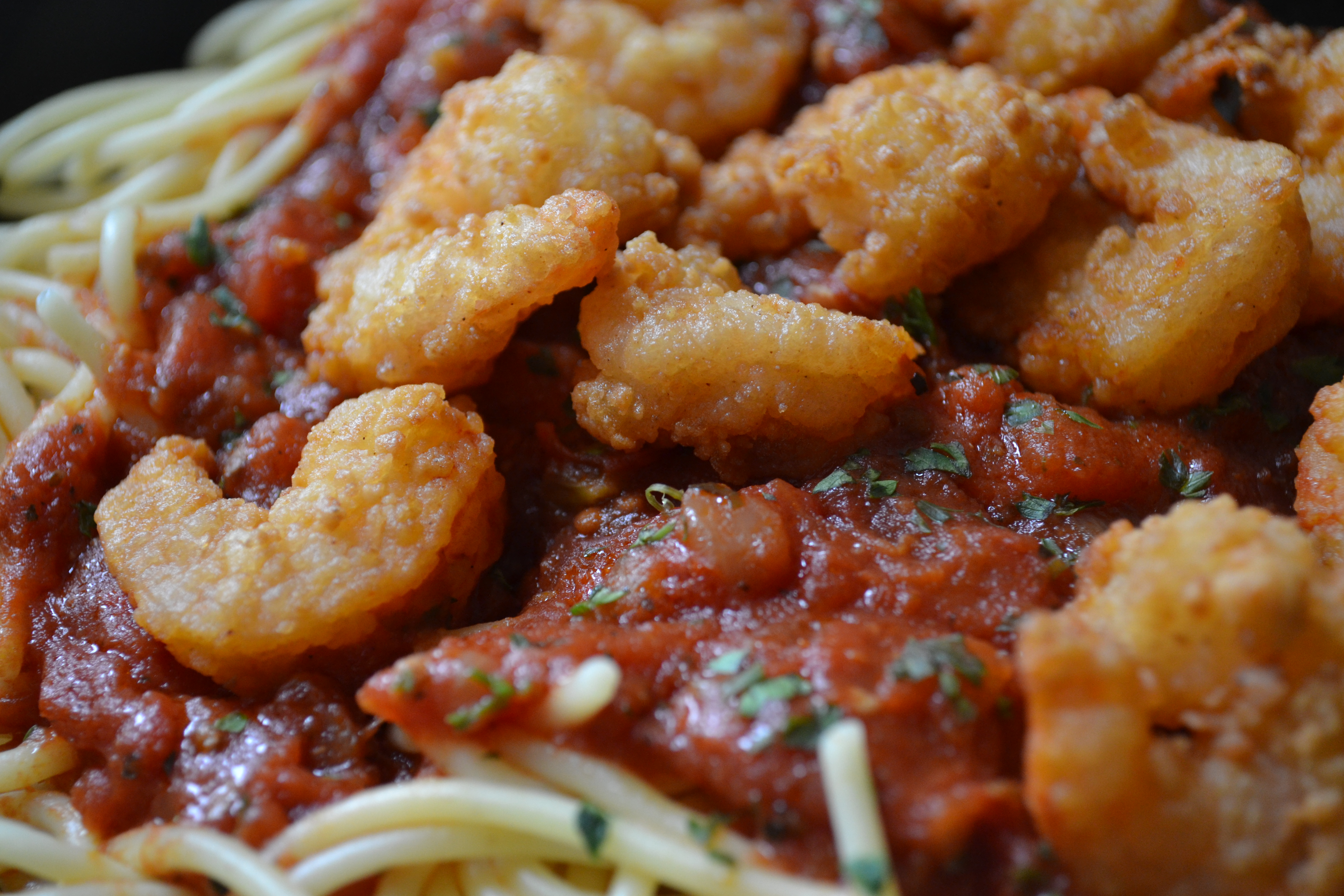 Day 8 – Spaghetti with Marinara and Shrimp Fritta | 49 Days of Pasta